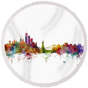 New York Skyline Round Beach Towel by Michael Tompsett