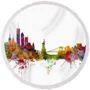 New York Skyline Round Beach Towel