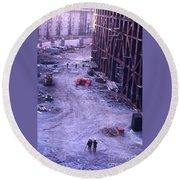 World Trade Center Under Construction 1967 Round Beach Towel