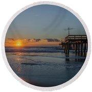32nd Street Pier Avalon Nj - Sunrise Round Beach Towel