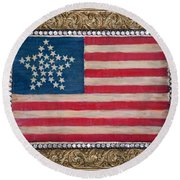 33 Star American Flag. Painting Of Antique Design Round Beach Towel