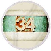34 On Weathered Aqua Round Beach Towel