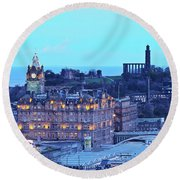Edinburgh, Scotland Round Beach Towel