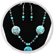 3508 Crazy Lace Agate Necklace And Earrings Round Beach Towel
