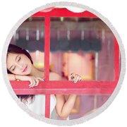 351943 Closed Eyes Asian Women Model Round Beach Towel