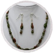 3525 Unakite Necklace And Earring Set Round Beach Towel