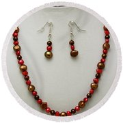 3536 Freshwater Pearl Necklace And Earring Set Round Beach Towel