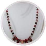 3541 Rhodonite And Jasper Necklace Round Beach Towel