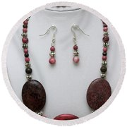3544 Rhodonite Necklace Bracelet And Earring Set Round Beach Towel