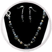 3545 Black Cracked Agate Necklace And Earring Set Round Beach Towel