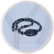 3552 Cracked Agate Necklace Round Beach Towel