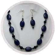 3555 Lapis Lazuli Necklace And Earring Set Round Beach Towel