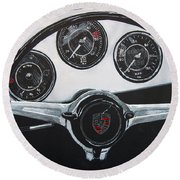 356 Porsche Dash Round Beach Towel