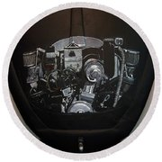 356 Porsche Engine On A Vw Cover Round Beach Towel