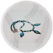 3564 Shell And Semi Precious Stone Necklace Round Beach Towel