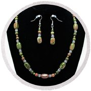 3565 Unakite Necklace And Earrings Set Round Beach Towel