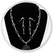 3576 Kambaba And Green Lace Jasper Necklace And Earrings Round Beach Towel