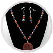 3578 Jasper And Agate Long Necklace And Earrings Set Round Beach Towel