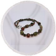 3579 Unakite Necklace  Round Beach Towel