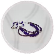 3580 Amethyst And Adventurine Necklace Round Beach Towel