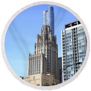 Chicago Skyscrapers Round Beach Towel