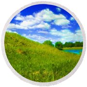 Pictures Of Oil Paintings Landscape Round Beach Towel