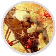 Winsome Woman Round Beach Towel