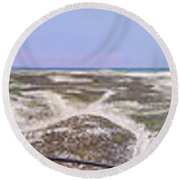 360 Panorama Of Sandy Neck Round Beach Towel