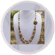 3615 Long Pearl Crystal And Citrine Necklace Featuring Vintage Brass Brooch  Round Beach Towel
