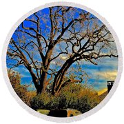 365 012716 Ancient Valley Oak And Parking Round Beach Towel