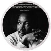 39- Martin Luther King Jr. Round Beach Towel by Joseph Keane