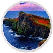 Original Landscape Paintings Round Beach Towel