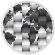 3d Black And White World Map Composition Round Beach Towel