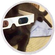 3d Cat Round Beach Towel