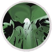 3d Green Abstract Round Beach Towel