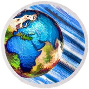 3d Render Of Planet Earth 10 Round Beach Towel