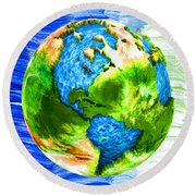 3d Render Of Planet Earth 11 Round Beach Towel