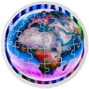 3d Render Of Planet Earth 12 Round Beach Towel
