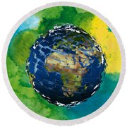 3d Render Of Planet Earth 14 Round Beach Towel
