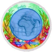 3d Render Of Planet Earth 17 Round Beach Towel