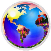 3d Render Of Planet Earth 18 Round Beach Towel