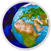 3d Render Of Planet Earth 6 Round Beach Towel