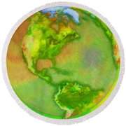 3d Render Of Planet Earth Round Beach Towel