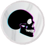 3d Skull Icon Background Side On Round Beach Towel