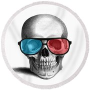 skull with 3D glasses Round Beach Towel