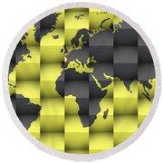 3d World Map Composition 4 Round Beach Towel