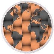 3d World Map Composition Round Beach Towel