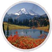 3m4824 Tipsoo Lake And Mt. Rainier H Round Beach Towel