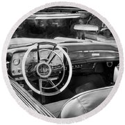 1959 Lincoln Continental Town Car Mk Iv Painted Bw Round Beach Towel