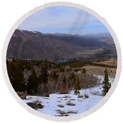 A Snowy Desert Mountain Scene Above Twin Lakes Along The Trail To Monument Ridge In The Eastern Sier Round Beach Towel